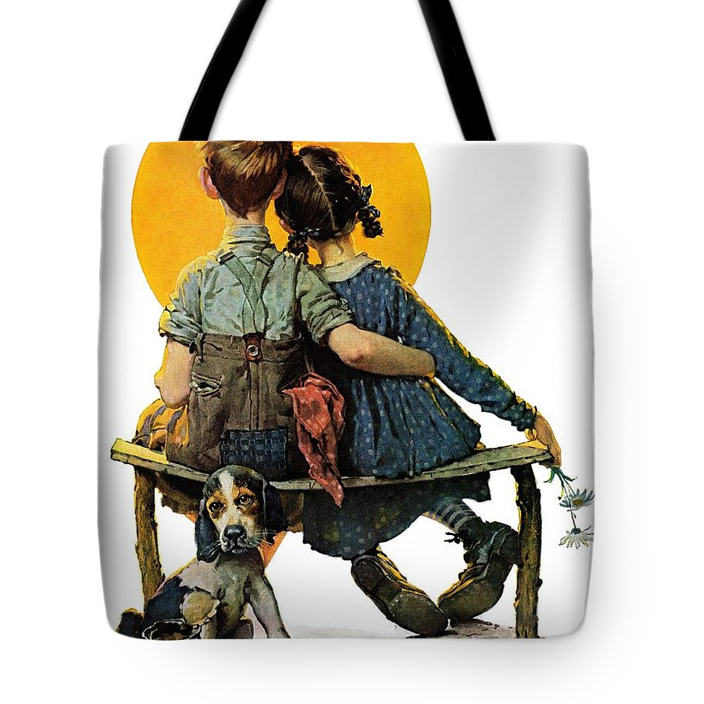 Benches Tote Bag featuring the drawing Sunset by Norman Rockwell
