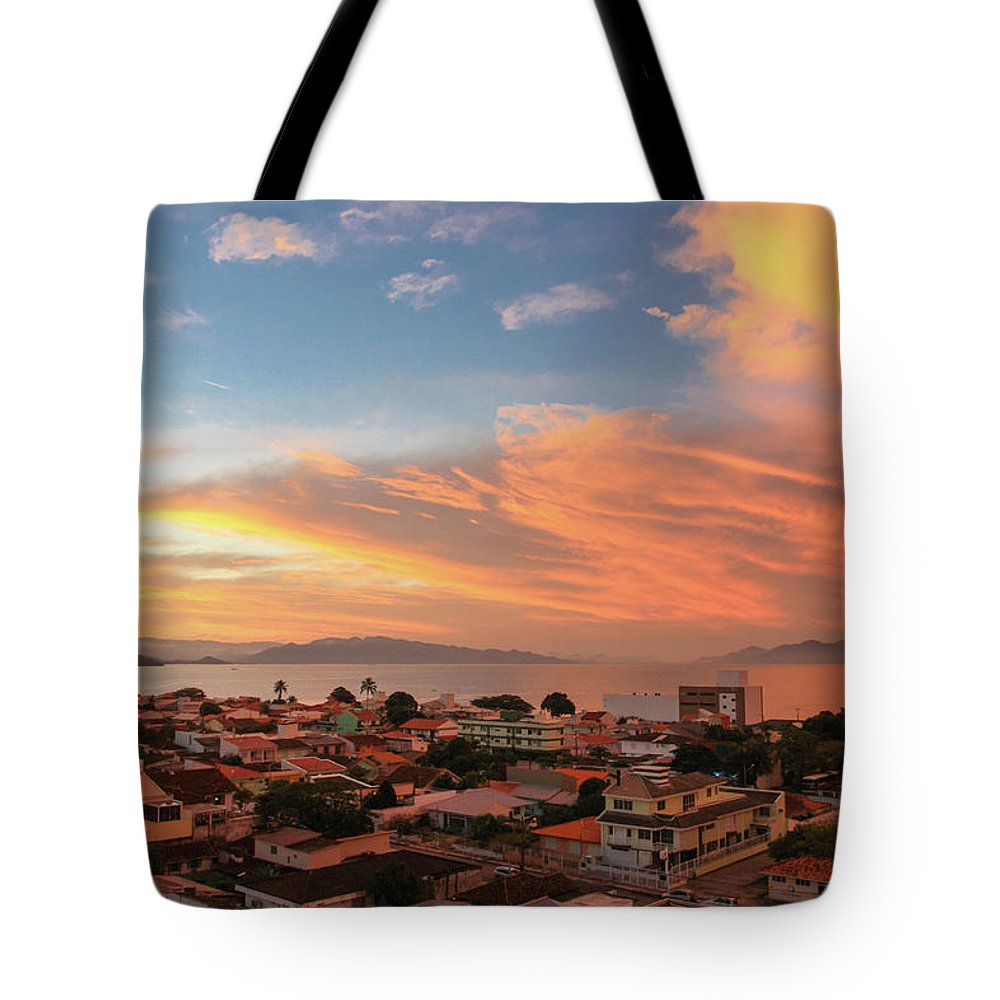Tranquility Tote Bag featuring the photograph Sunset Over Florianopolis by Dircinhasw