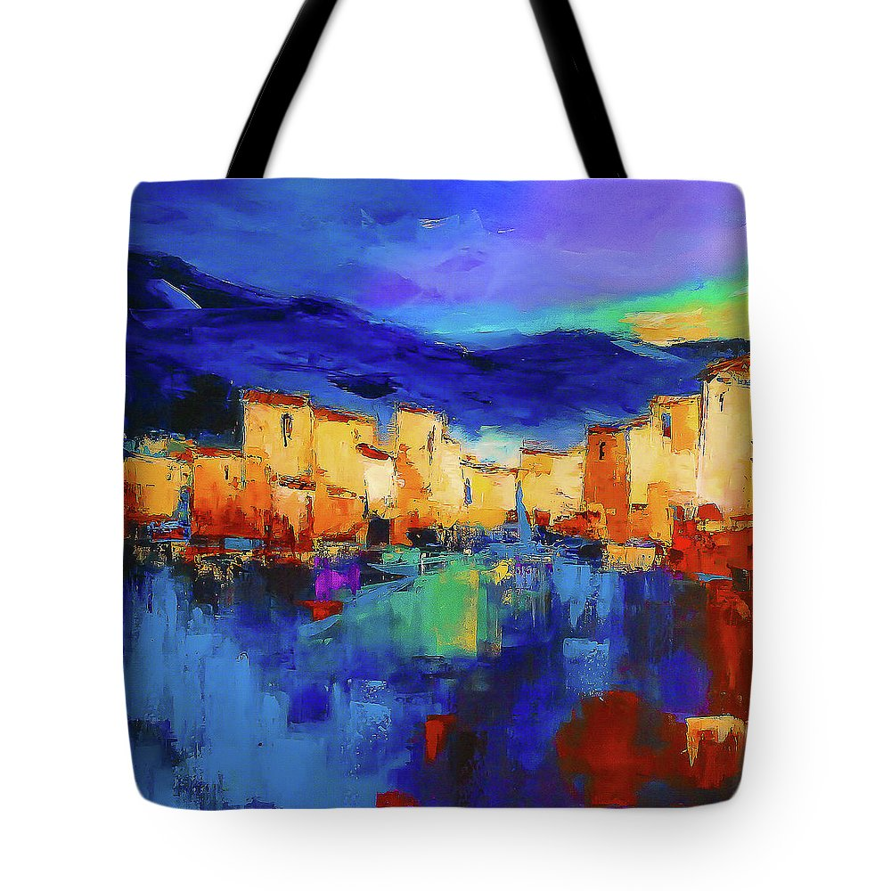 Cinque Terre Tote Bag featuring the painting Sunset Over The Village by Elise Palmigiani