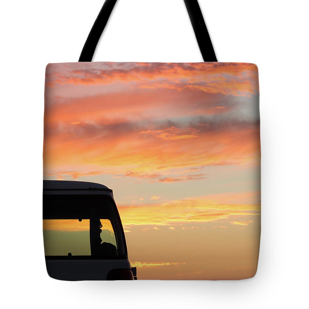 Sunset Tote Bag featuring the photograph Sunset With The Van by Shot City Media