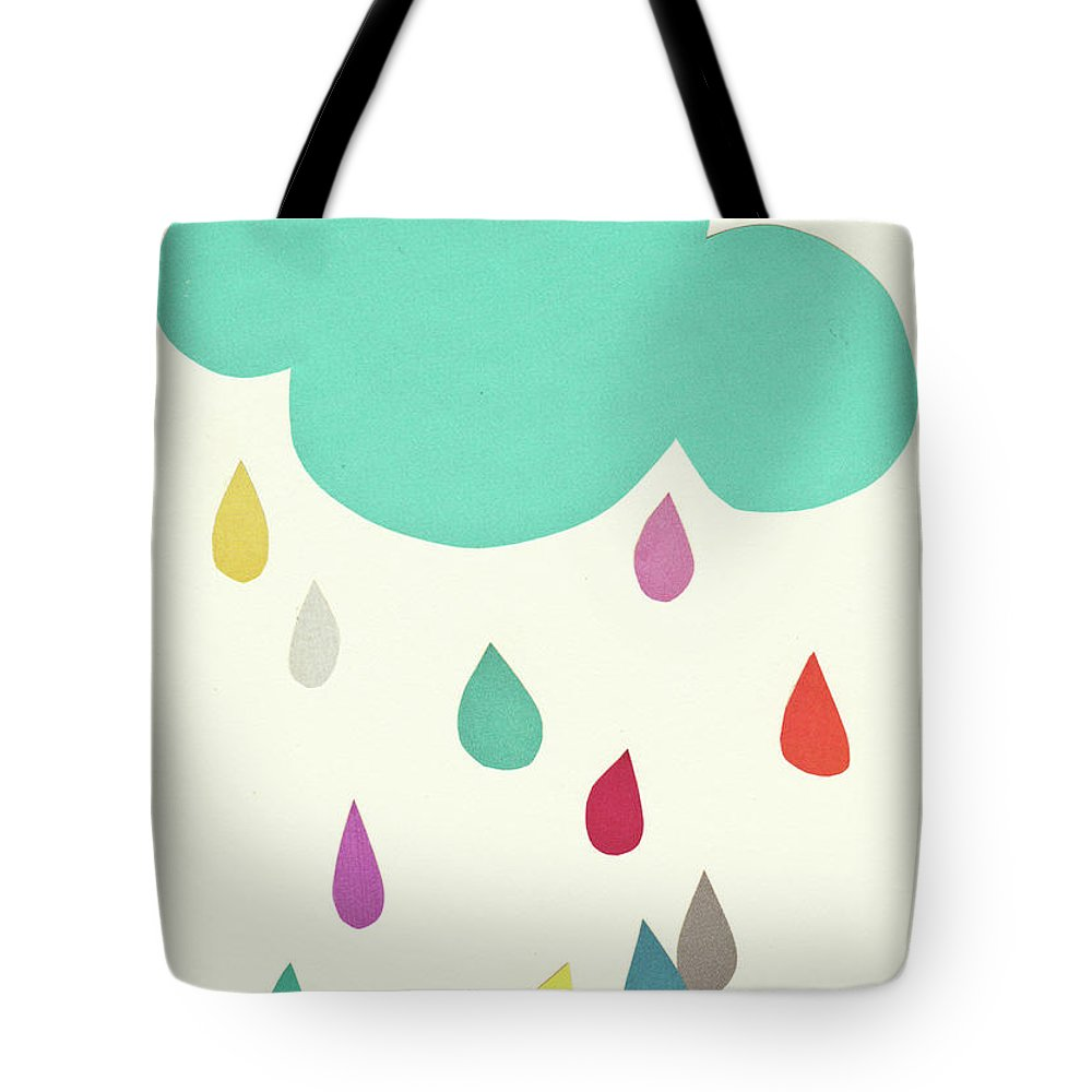 Clouds Tote Bag featuring the mixed media Sunshine and Showers by Cassia Beck