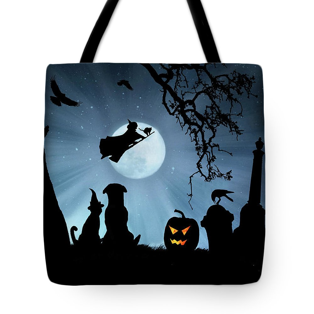 Halloween Tote Bag featuring the photograph Super Cute Halloween Night With Dog And Cat by Stephanie Laird
