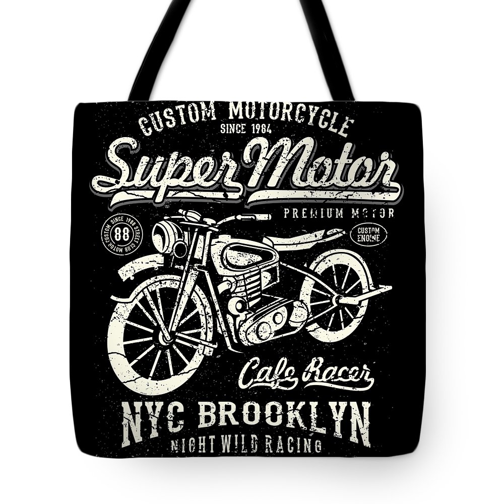 Dirtbike Tote Bag featuring the digital art Super Motor Custom Motorcycle Nyc by Passion Loft