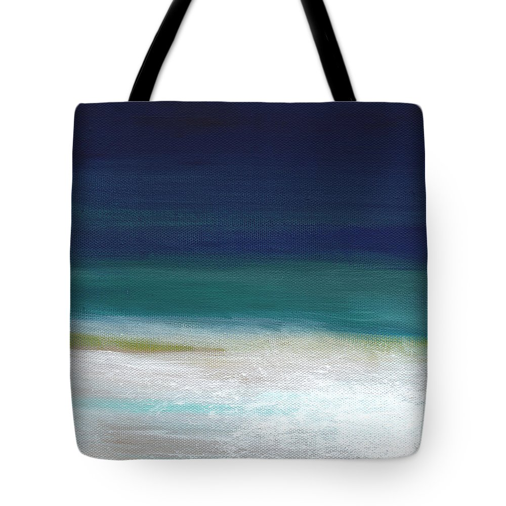 Abstract Tote Bag featuring the painting Surf And Sky- Abstract Beach Painting by Linda Woods
