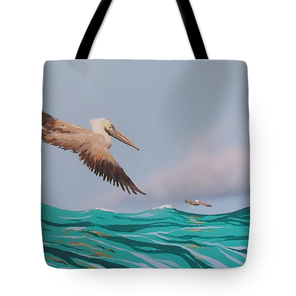 Pelicans Tote Bag featuring the painting Surfing by Philip Fleischer