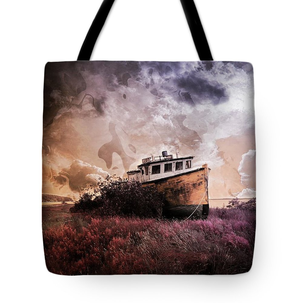 Boat Tote Bag featuring the mixed media Surrounded By Opportunity by Aaron Berg