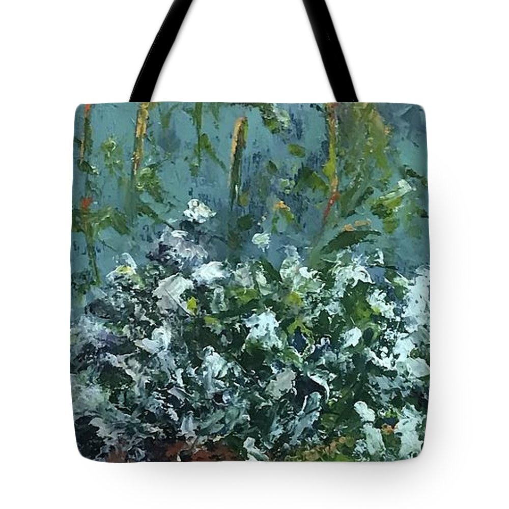 Alyssum Tote Bag featuring the pyrography Sweet Alyssum by Patricia Caldwell