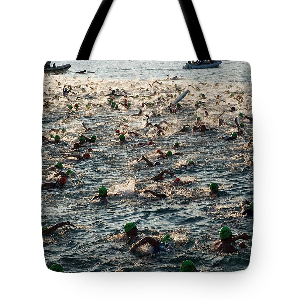 Seascape Tote Bag featuring the photograph Swim Start Of Triathlon In Kailua Bay by Alvis Upitis