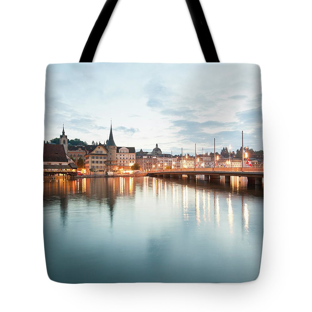 Dawn Tote Bag featuring the photograph Switzerland, Lucerne, View Of by Westend61