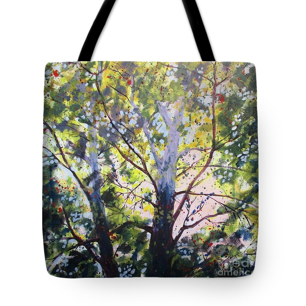 Sycamore Tote Bag featuring the painting Sycamore Inspiration by Larry Lerew