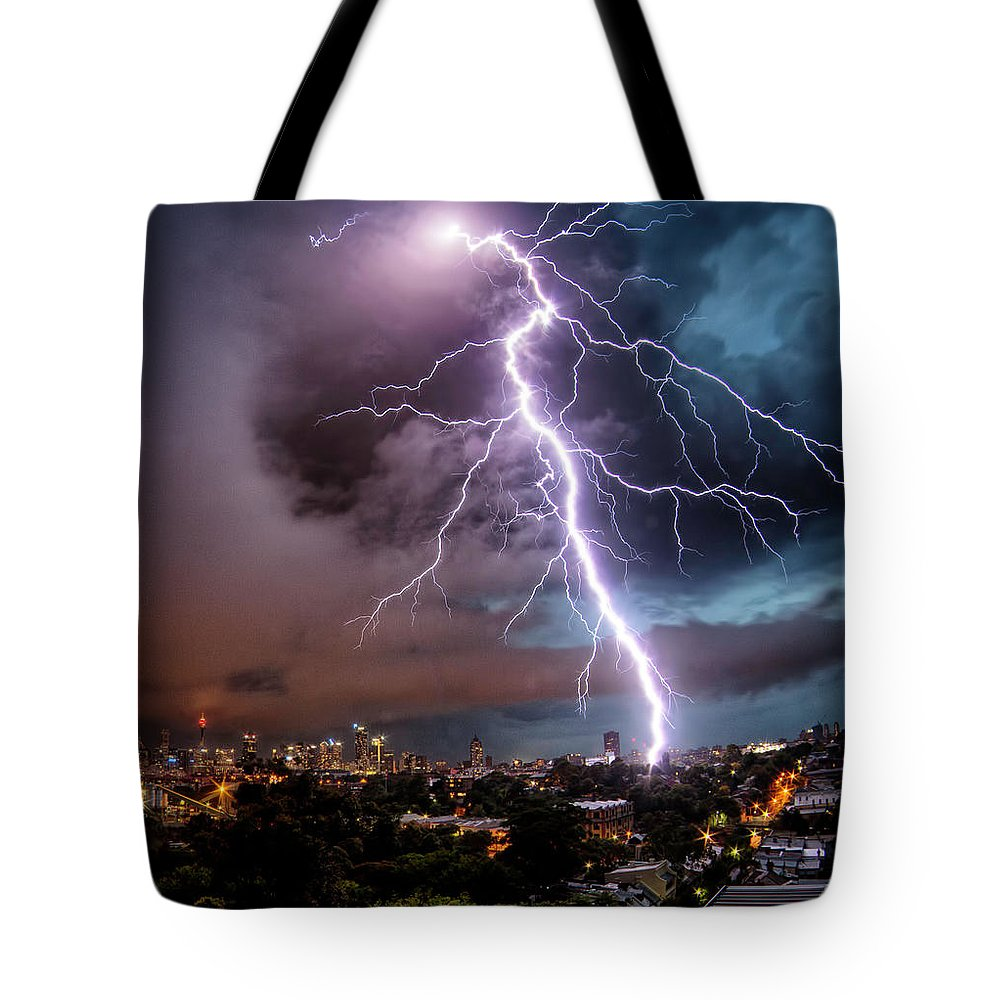 Tranquility Tote Bag featuring the photograph Sydney Summer Lightning Strike by Australian Land, City, People Scape Photographer