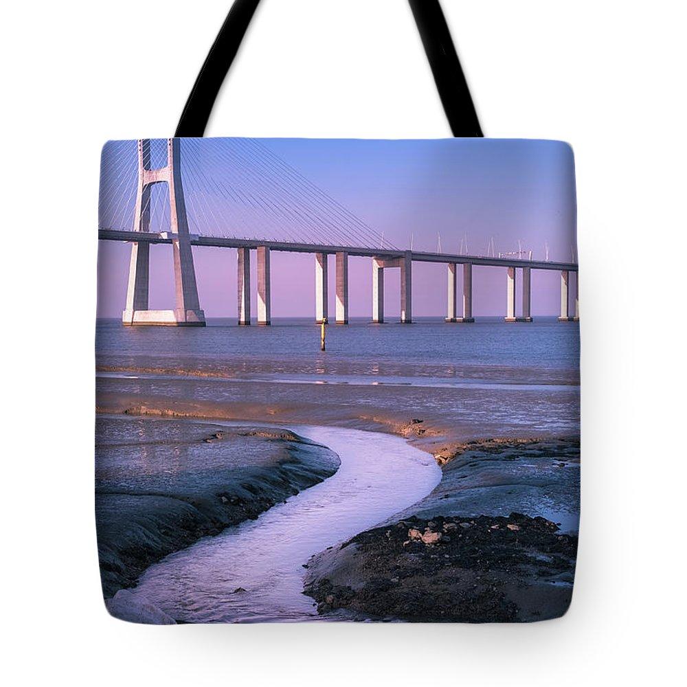 Portugal Tote Bag featuring the photograph Tagus River And Vasco Da Gama Bridge by Philip Preston