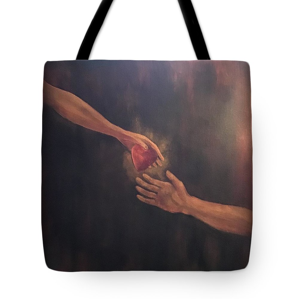 Heart Tote Bag featuring the painting Take My Heart by Ron Tango Jr