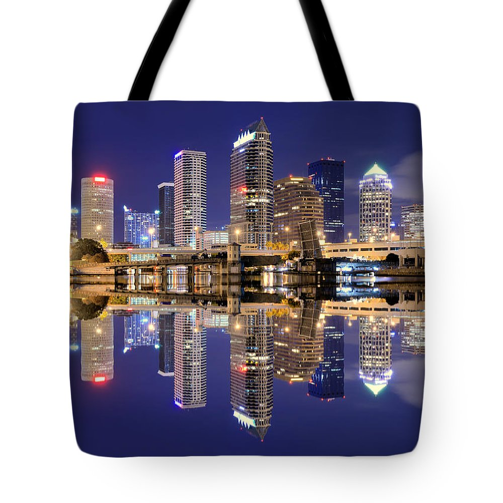 Downtown District Tote Bag featuring the photograph Tampa Bay Skyline by Sean Pavone