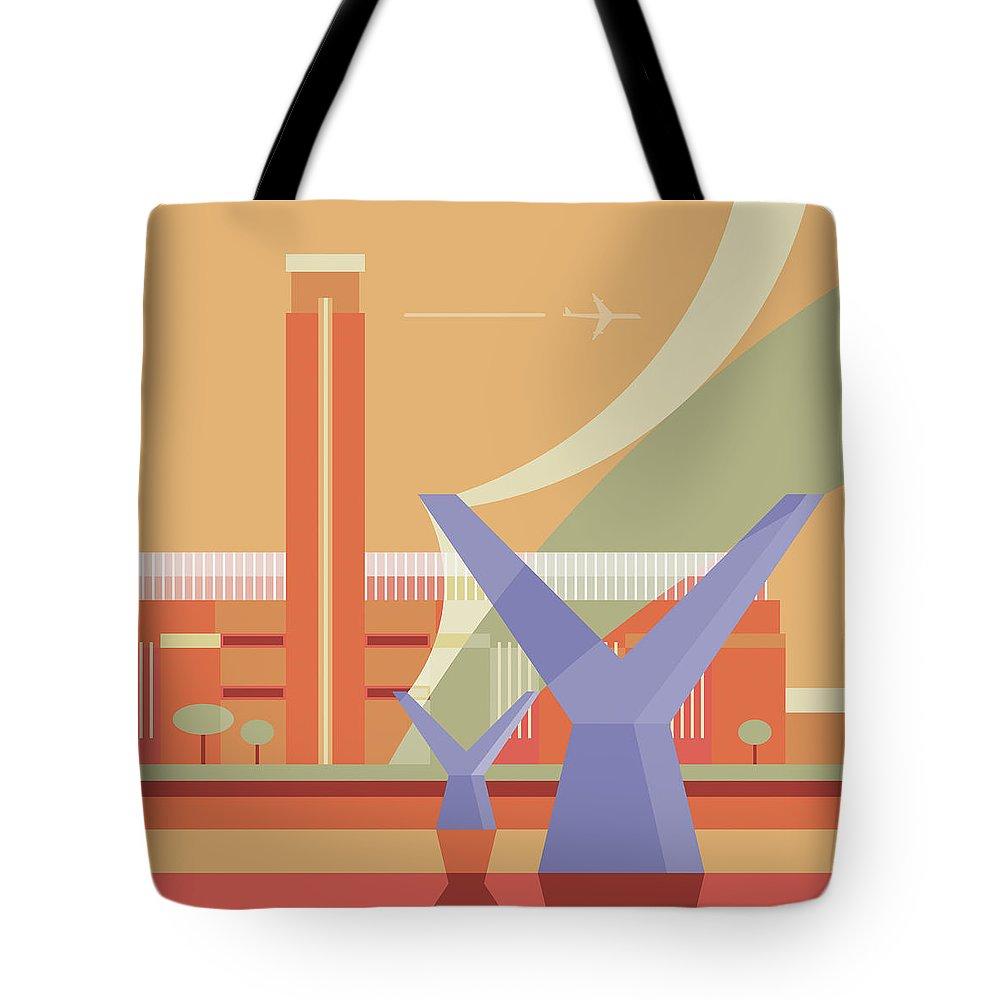 London Millennium Footbridge Tote Bag featuring the digital art Tate Gallery And Millennium Bridge by Nigel Sandor