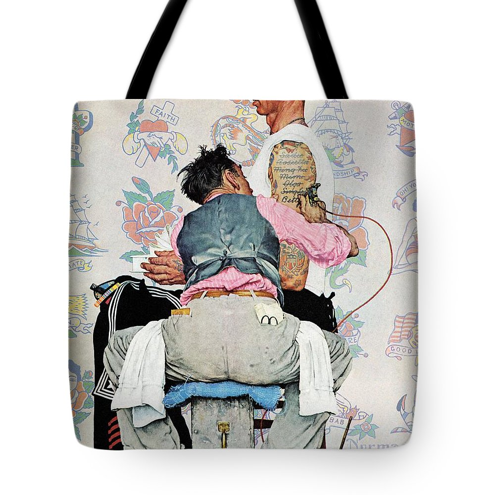 Arms Tote Bag featuring the drawing Tattoo Artist by Norman Rockwell