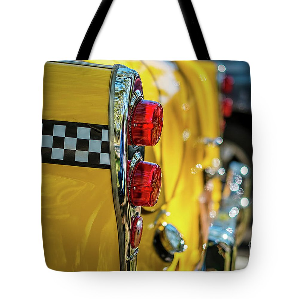 Outdoors Tote Bag featuring the photograph Taxi Tail Light, New York City, New by Kai Sarton