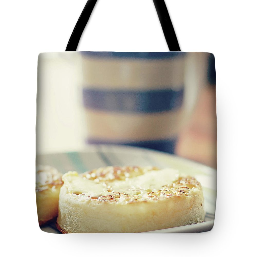 Healthy Eating Tote Bag featuring the photograph Tea And Crumpets by Deborah Slater