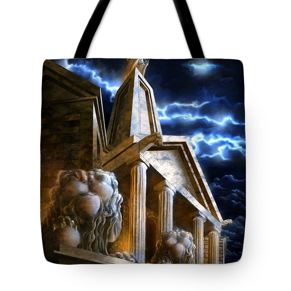 Hercules Tote Bag featuring the mixed media Temple Of Hercules In Kassel by Curtiss Shaffer