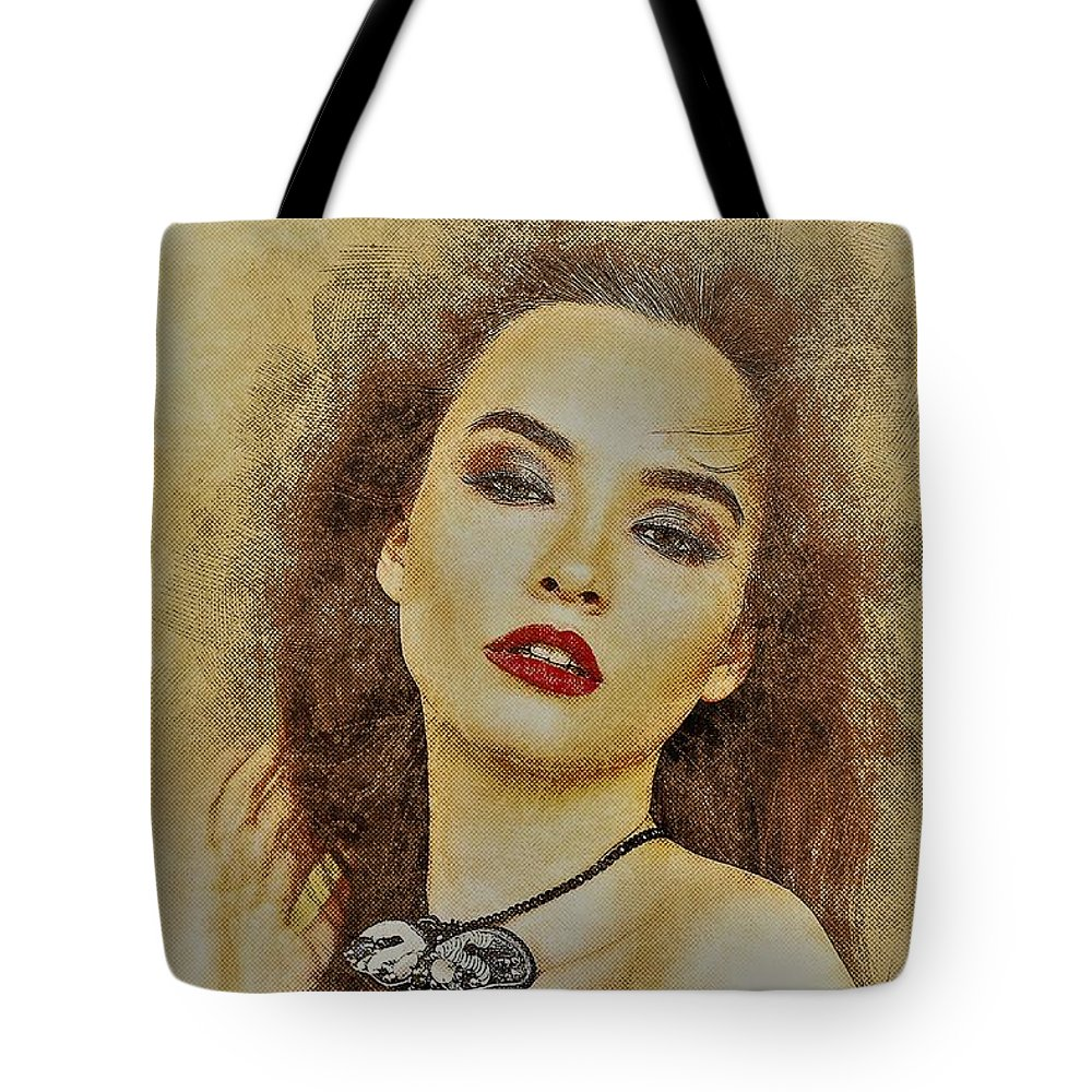 Temptation Tote Bag featuring the painting Temptation by ArtMarketJapan