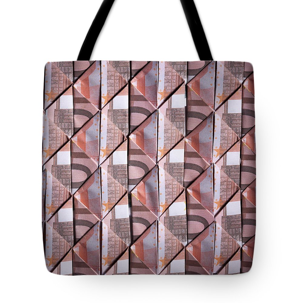 Shadow Tote Bag featuring the photograph Ten Euro Banknotes Folded Into Diamond by Larry Washburn