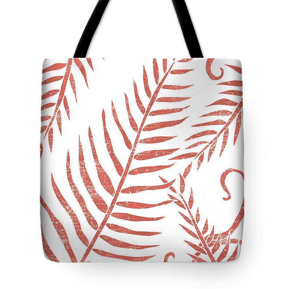 Terracotta Leaves Tote Bag featuring the mixed media Terracotta Leaves - Terracotta Abstract Print - Modern, Minimal, Contemporary Abstract - Tropical by Studio Grafiikka