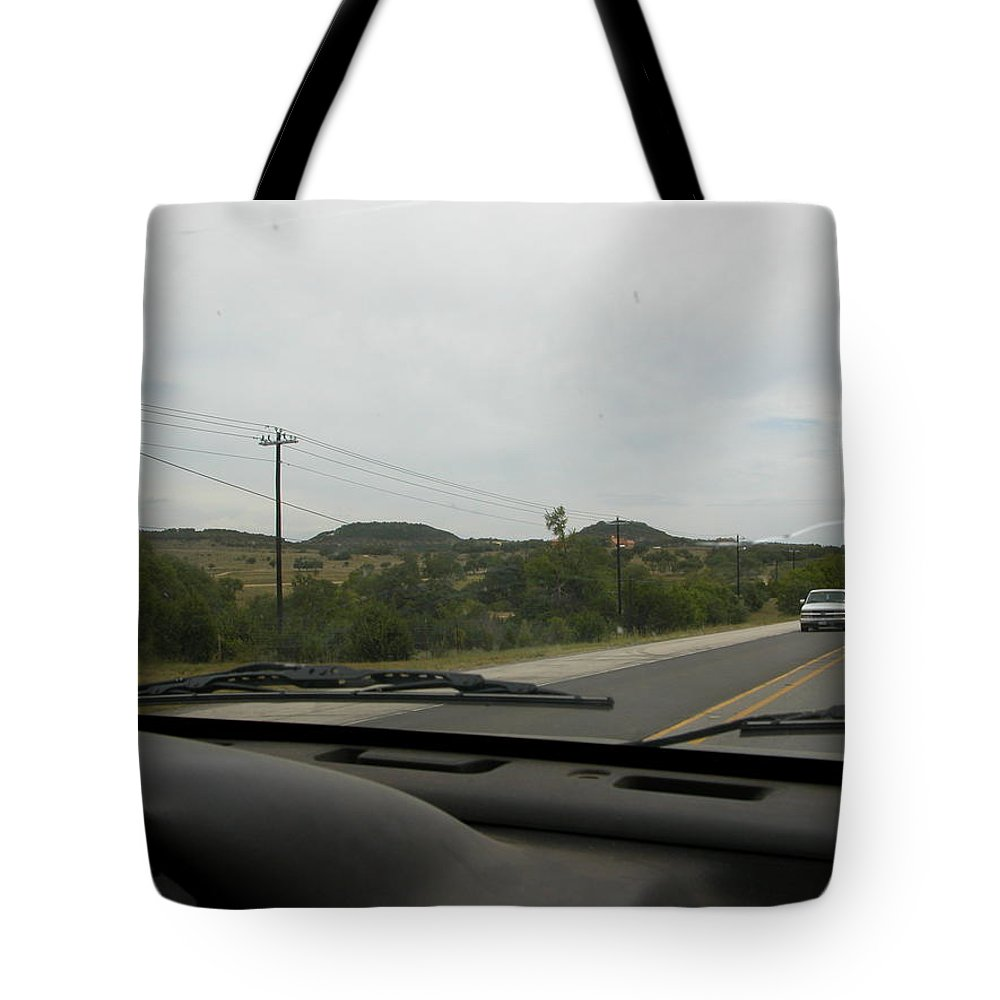 Landscape Tote Bag featuring the digital art Texas Hill Country by Rebecca Miterko