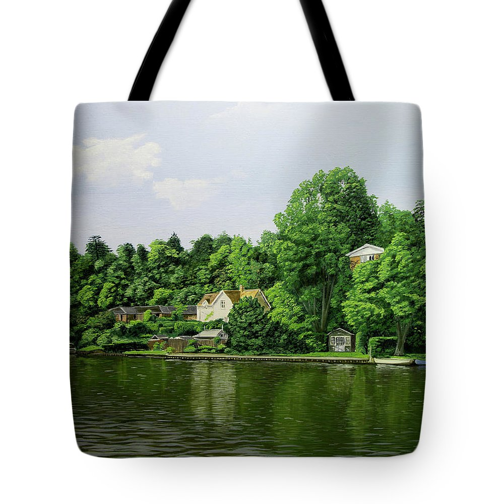Thames Tote Bag featuring the painting Thames At Reading by Raymond Ore
