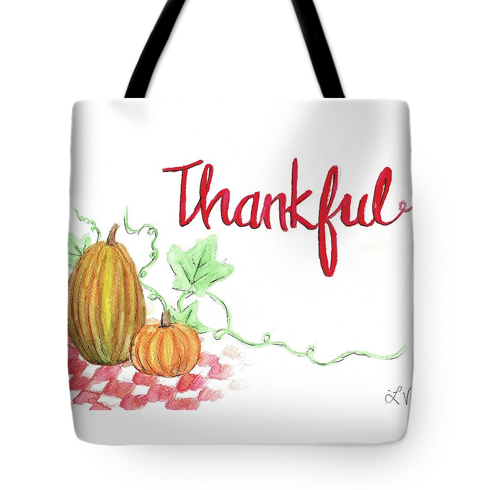 Thanksgiving Tote Bag featuring the painting Thankful by Elizabeth Vaughn