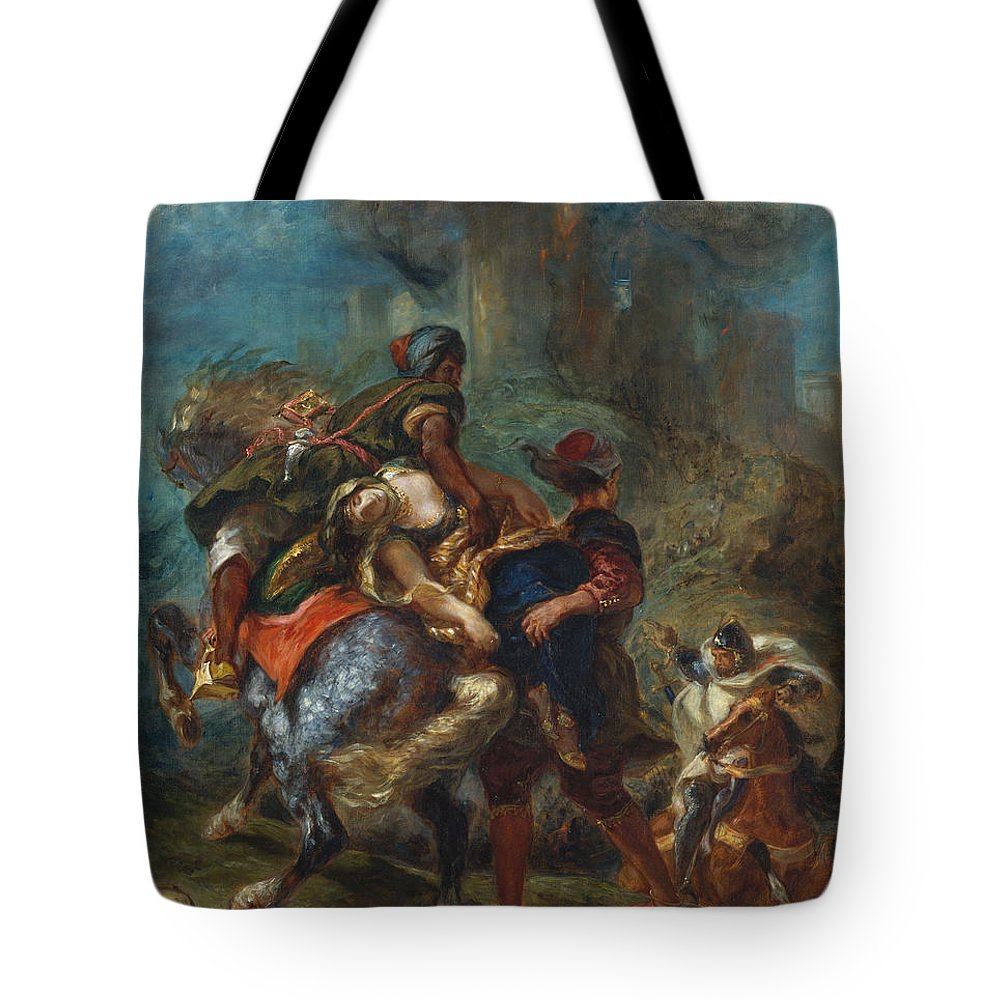 Eugène Delacroix Tote Bag featuring the painting The Abduction Of Rebecca by Eug ne Delacroix