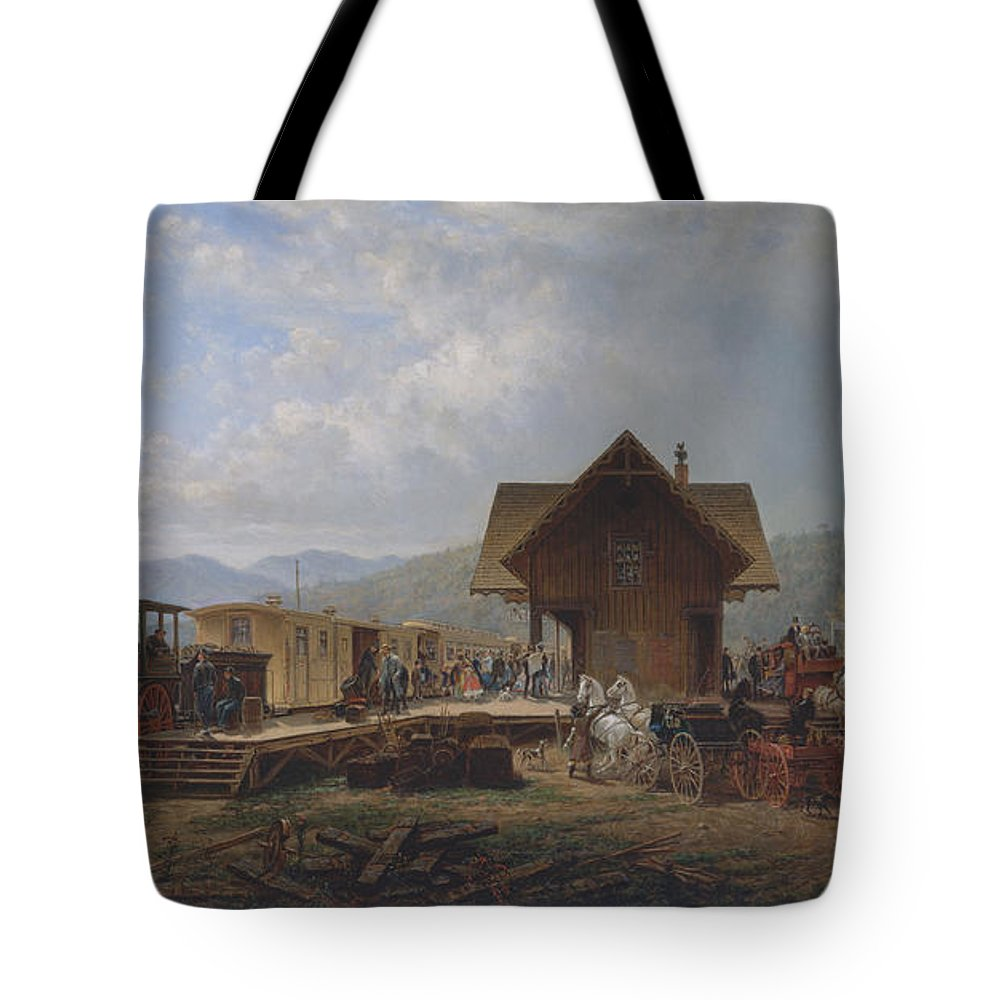 Edward Lamson Henry Tote Bag featuring the painting The  Accommodation by Edward Lamson Henry