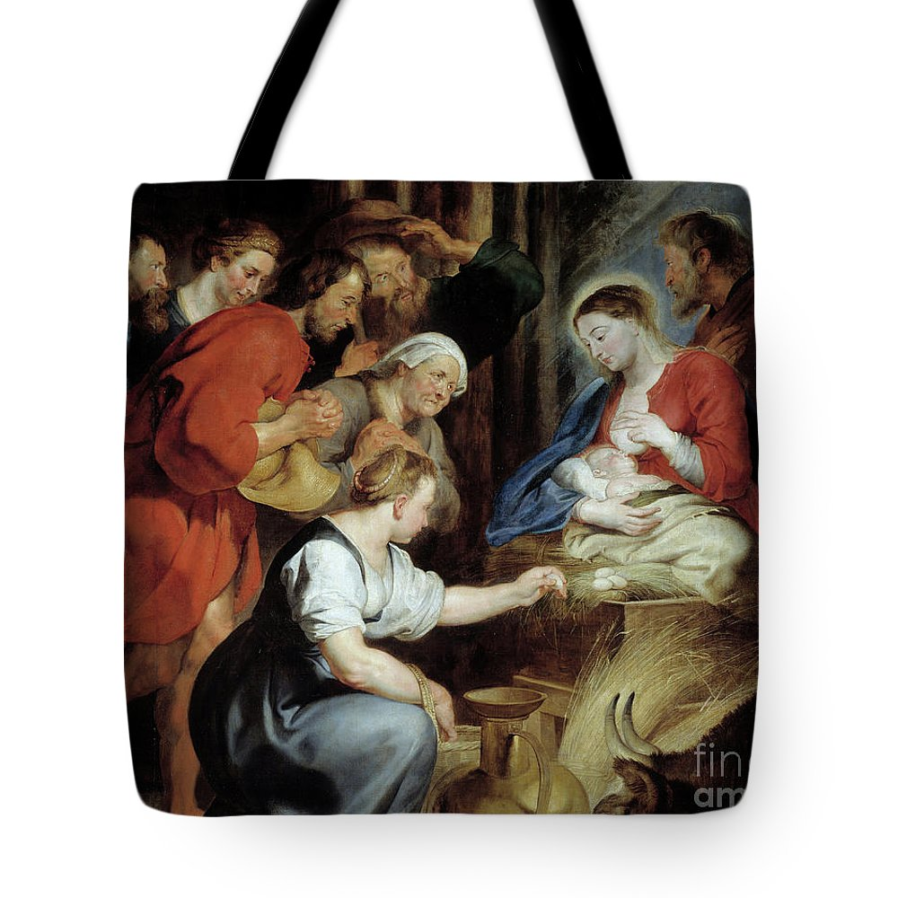 Girl Tote Bag featuring the painting The Adoration Of Shepherds Detail Painting By Rubens by Rubens