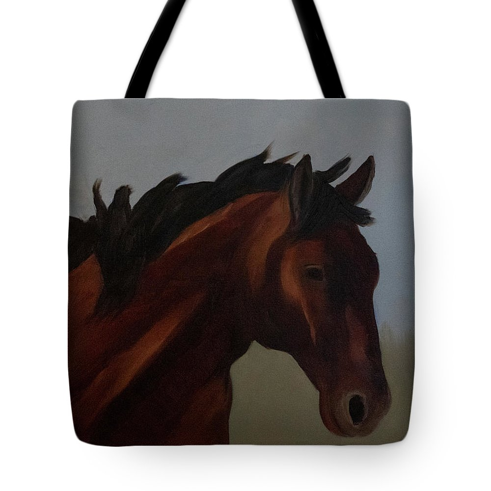 Horse Tote Bag featuring the painting The Bay Mustang by Fine Art Western Paintings