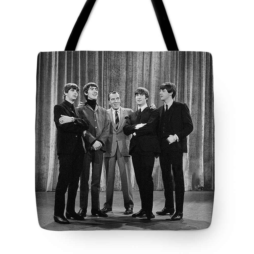 The Beatles Tote Bag featuring the photograph the beatles and ed sullivan - February, 1964 by Mountain Dreams