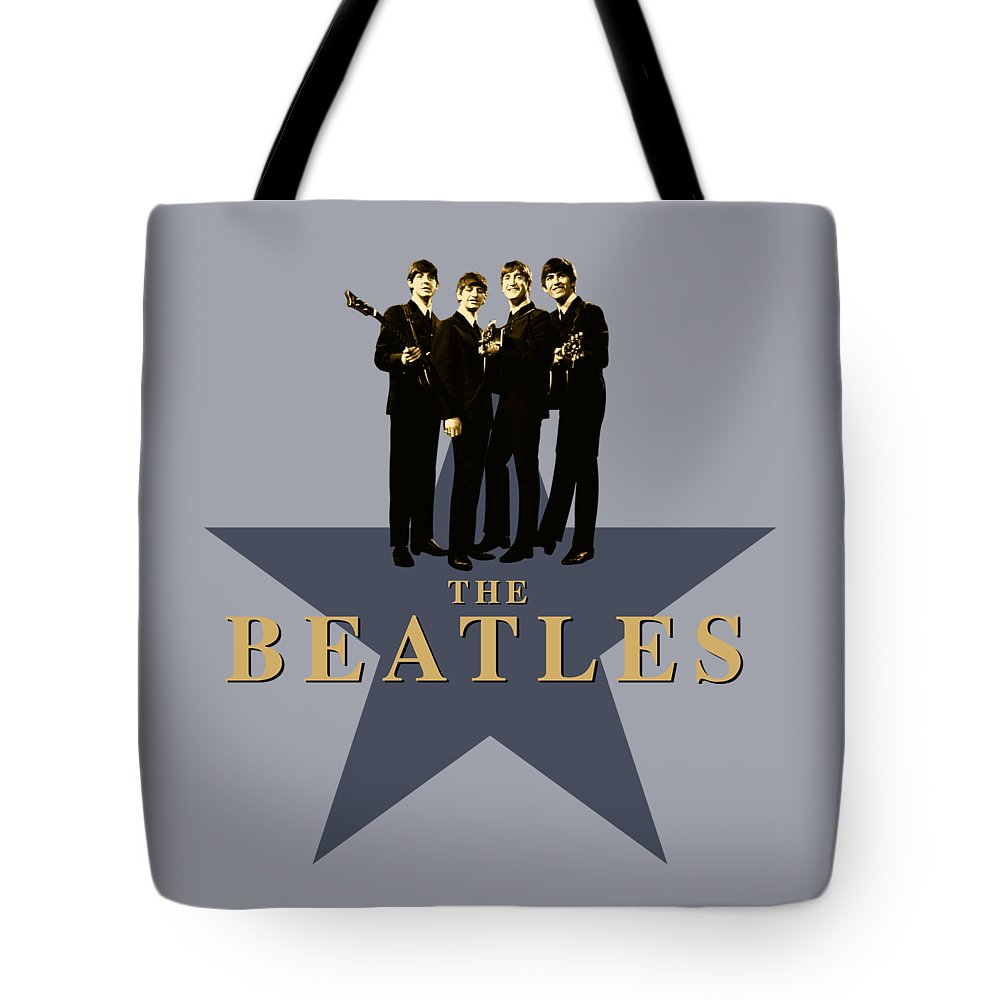 The Beatles Tote Bag featuring the digital art The Beatles - Signature by David Richardson