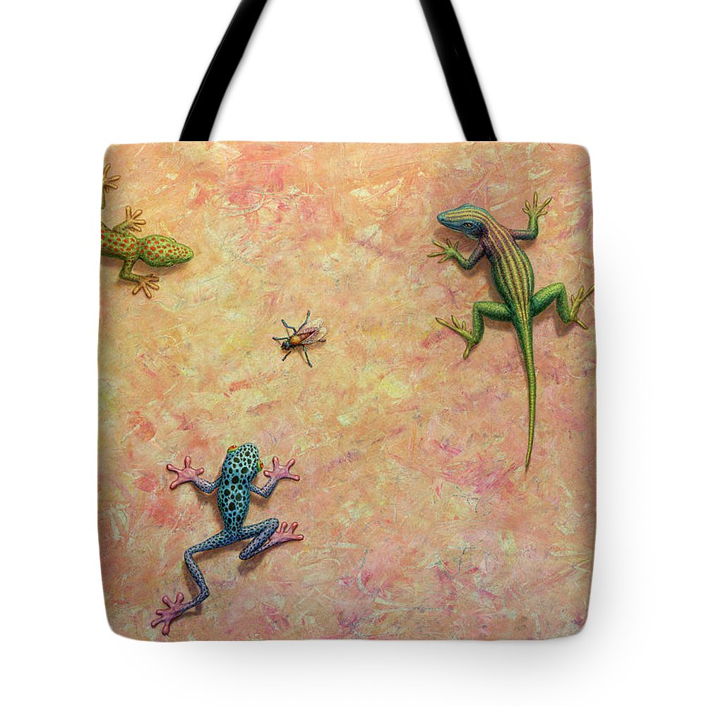 Green Tree Frogs Paintings Tote Bags