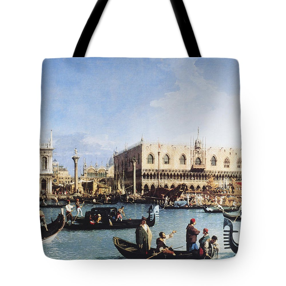 People Tote Bag featuring the digital art The Bucintoro At The Molo On Ascension by Fototeca Gilardi