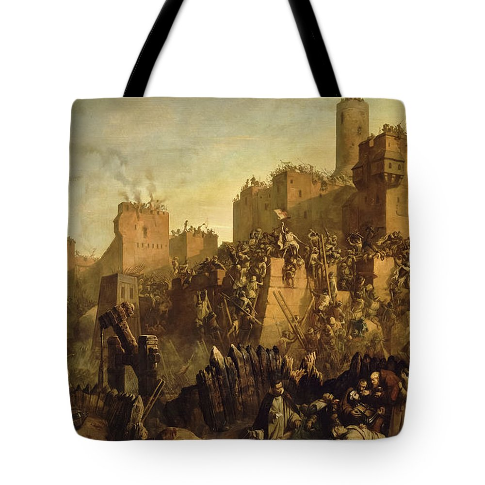 Jacques De Molay Tote Bag featuring the painting The Capture Of Jerusalem By Jacques De Molay, Crusade by Claudius Jacquand