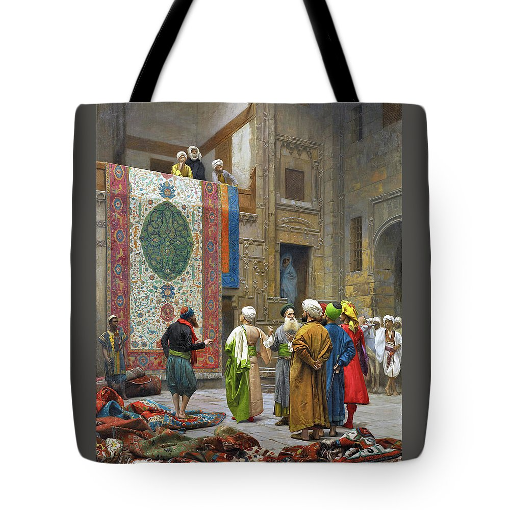 Jean Leon Gerome Tote Bag featuring the photograph The Carpet Merchant - Digital Remastered Edition by Jean-Leon Gerome