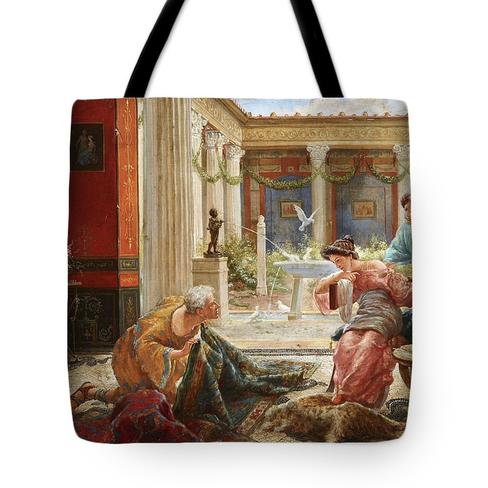 The Carpet Sellers Tote Bag featuring the painting The Carpet Sellers by Ettore Forti