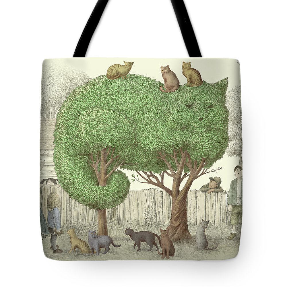 Cat Tote Bag featuring the drawing The Cat Tree by Eric Fan