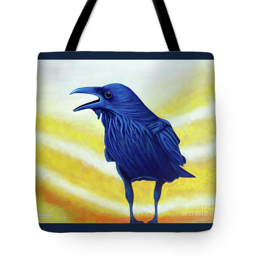Raven Tote Bag featuring the painting The Conversation by Brian Commerford