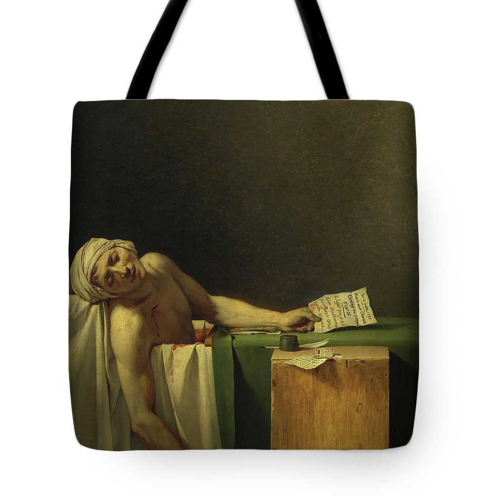 Jacques-louis David Tote Bag featuring the painting The Death Of Marat, 1793 by Jacques-Louis David
