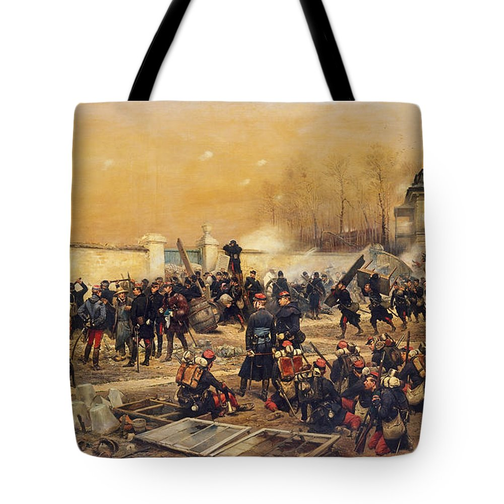 Edouard Detaille Tote Bag featuring the painting The Defense Of Champigny by Edouard Detaille
