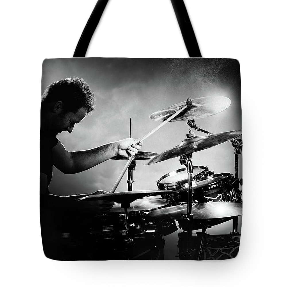 Rock And Roll Drummer Tote Bags