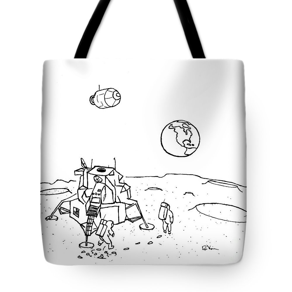 The Eagle Has Landed Tote Bag featuring the drawing The Eagle Has Landed by Kip DeVore