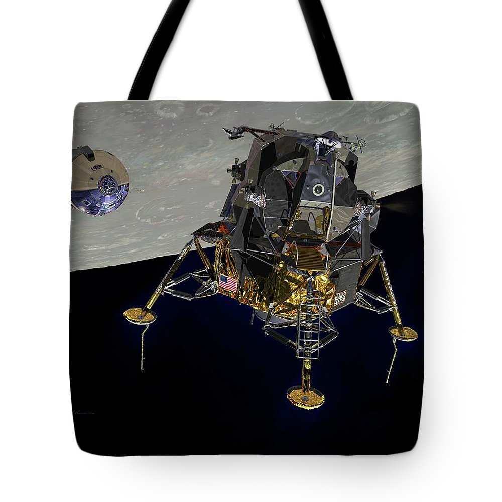 Apollo 11 Tote Bag featuring the digital art The Eagle Has Wings by Paul Fjeld