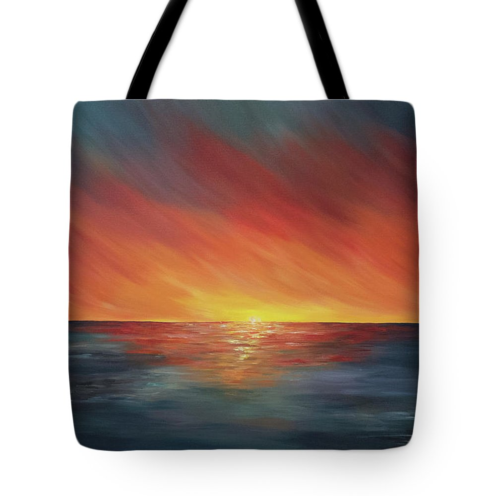 Sunset Painting Tote Bag featuring the painting The Edge Of Sunset by Liz W Fine Art