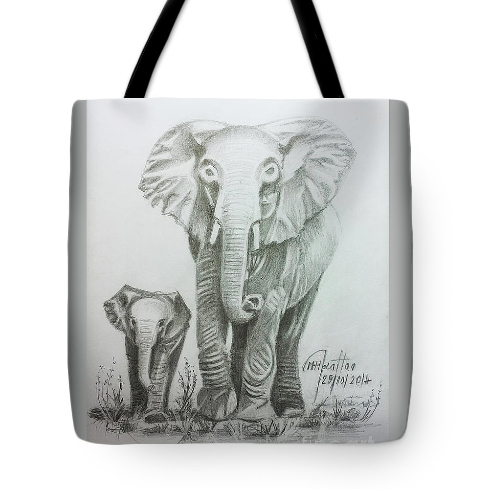 The Elephant Tote Bag featuring the drawing The Elephant by Mohammad Hayssam Kattaa