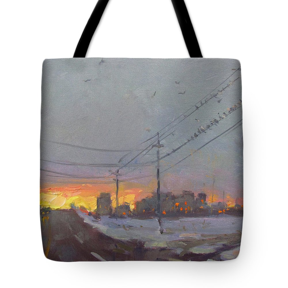 Gray Day Tote Bag featuring the painting The End Of A Gray Day by Ylli Haruni